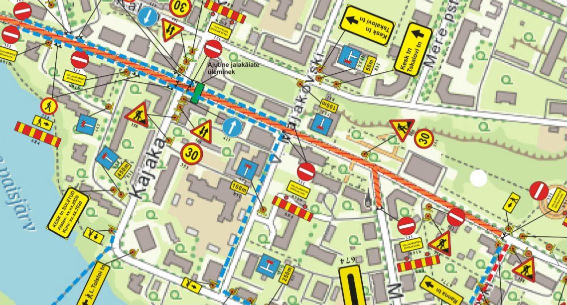 С 21.05.2020 закрывается проезд на ул. Кеск со стороны ул. Михаила Румянцева в г. Силламяэ